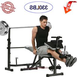 330lbs Olympic Weight Bench Strength Training Lifting Press