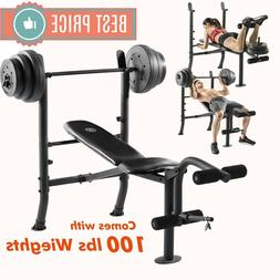 ADJUSTABLE LIFTING WEIGHT BENCH SET With Weights And Bar 100
