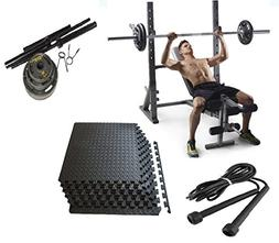 Golds Gym Adjustable Olympic Bench Press, 110lbs Weights, Ma
