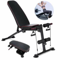 Adjustable Workout Bench Flat Incline Decline Ab Weight Fitn