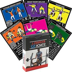 Stack 52 Barbell Exercise Cards. Weight Lifting Playing Card