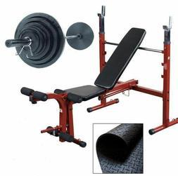 Best Fitness BFOB10SET Olympic Folding Weight Bench w/ 200 l