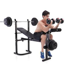 Black Weight Lifting Folding Bench w/Rack Home Gym Workout A