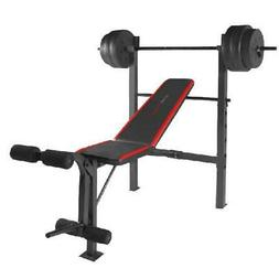 Fitness Bench With Weight Set 100lb Gym Barbell Equipment Ho