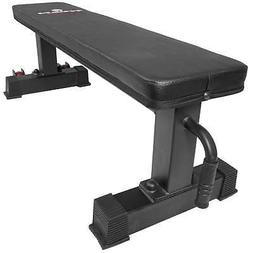 Titan Fitness Flat Weight Bench with Handle and Wheels, Supp