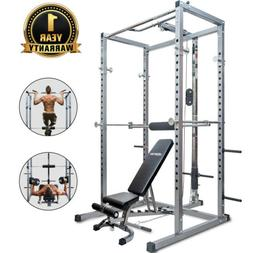 Merax Full Power Rack Squat Cage and Weight Bench 2 in 1 Hom