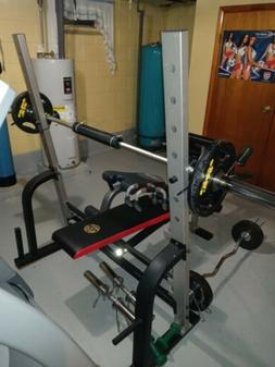 Golds Gym Weight-Bench, Crunch- Seat, Curl-Bar, 2-25 lb, & 4