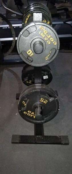 Gold's Gym Weight Plates, Plate tree, Adjustable Bench, ez