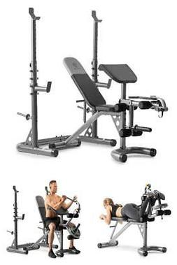 Golds Gym XRS 20 Olympic Weight Bench Home Lifting Leg Squat