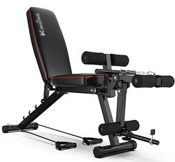 JYKJ Multi-Function Fitness Bench, Weight Bench with Leg Ext