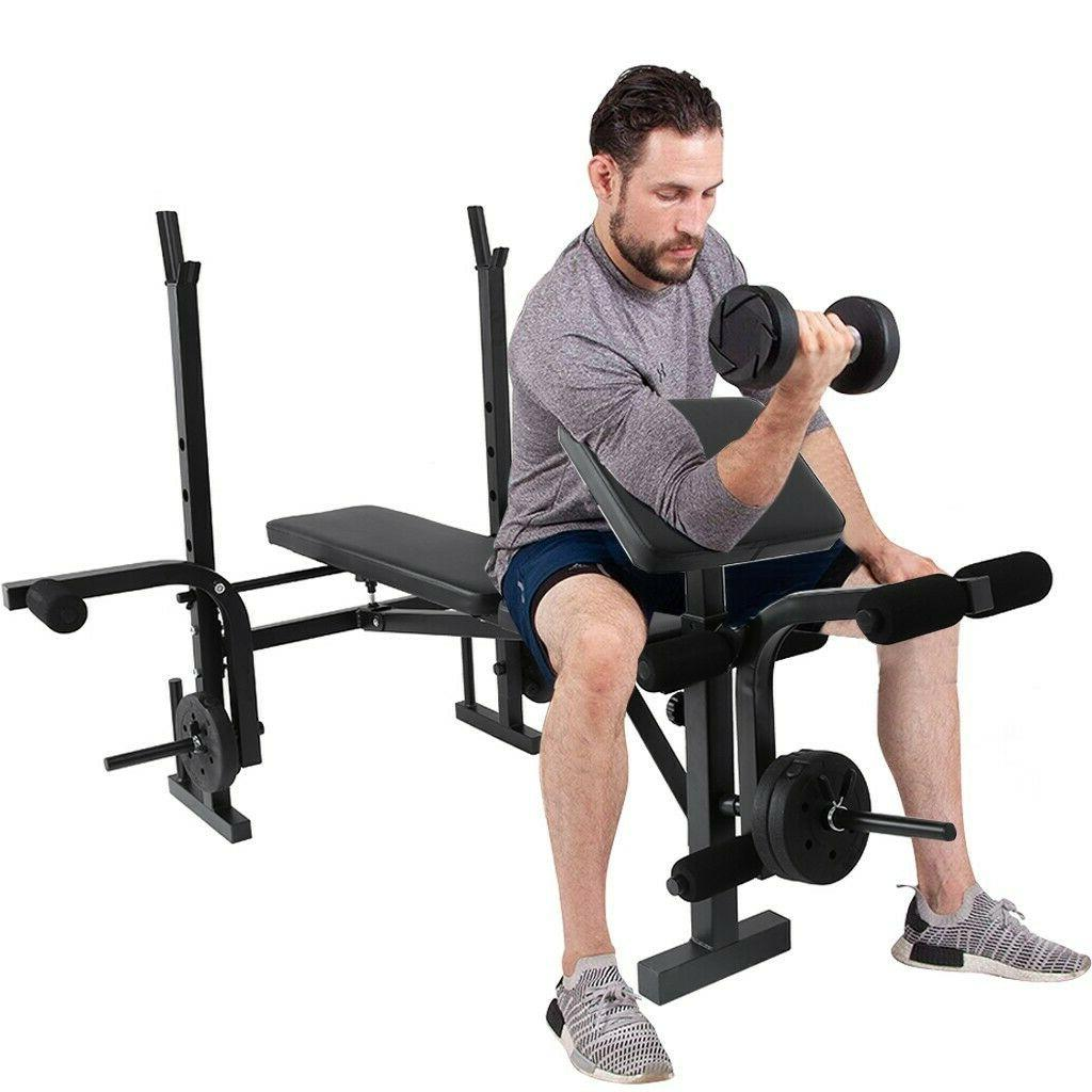 Weight Bench Set Adjustable Home Barbell Exercise