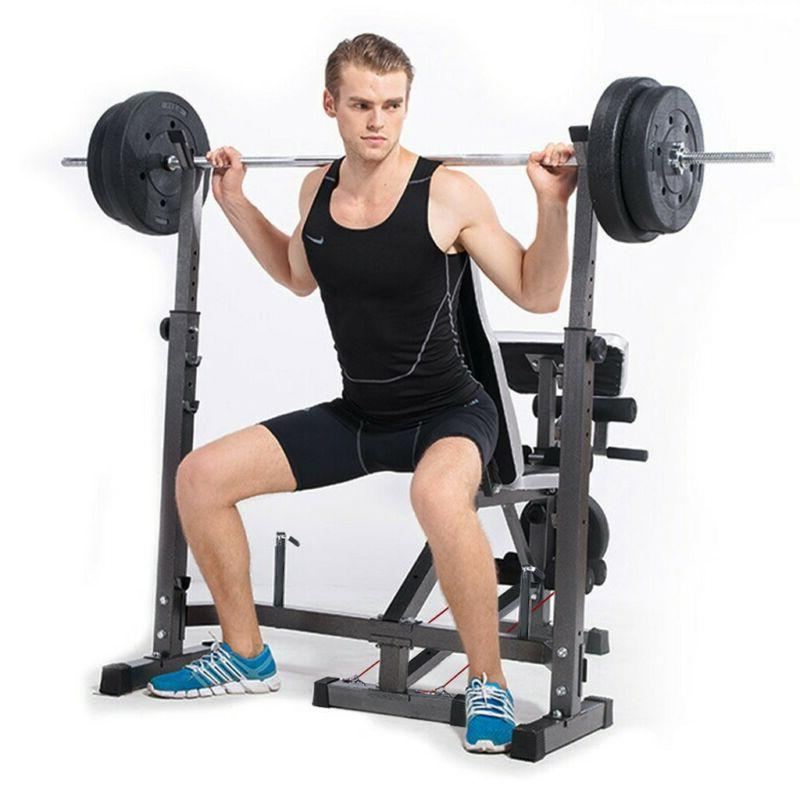 Weight Bench Set With Weight Gym Press Barbell Exercise