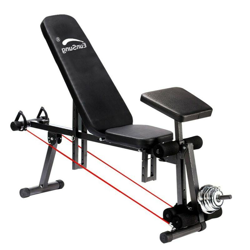 Adjustable Weight Barbell Bench Lifting Incline Foldable Ful
