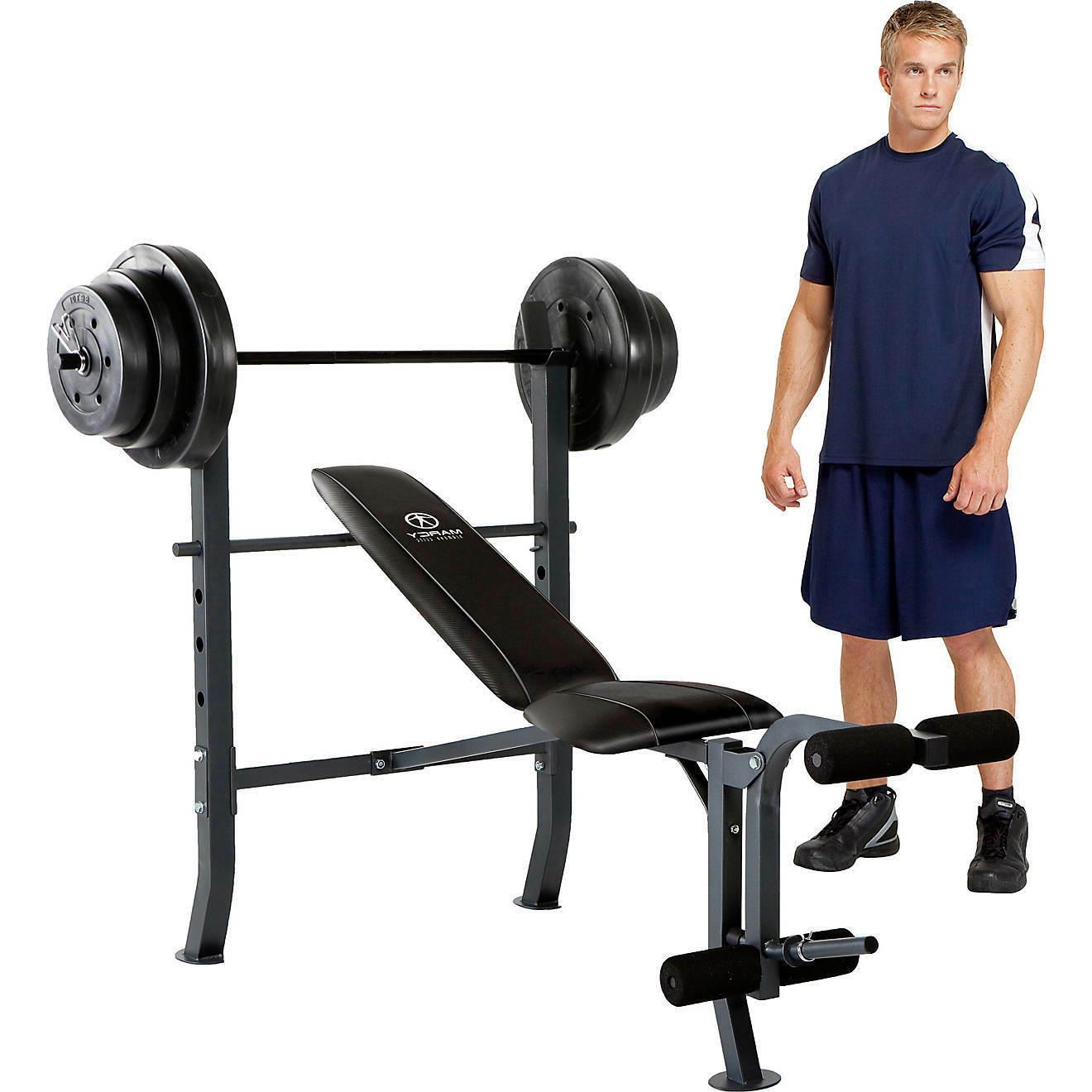 Marcy Standard Adjustable Weight Bench with 100lb Weight Set