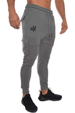 YoungLA Men's Gym Joggers Cargo Style Pants W/Multiple Pocke