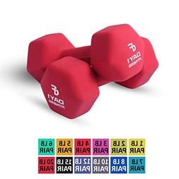 Day 1 Fitness Neoprene Dumbbell Pairs 20 Pounds - Non-Slip,