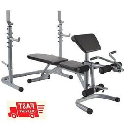 Olympic Workout Bench Press w/ Preacher Curl, Squat Rack, Le