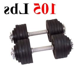 One Pair of Adjustable Dumbbells Cast Iron Total 105 Lbs  by