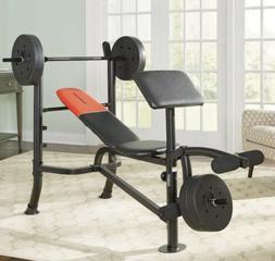 Weider Pro 265 Standard Bench, Bar, and Weight Set 80lb NEW