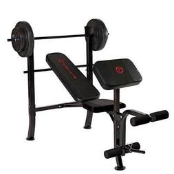 Marcy Pro Home Gym Standard Weight Training Bench with 80 Po